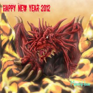 年賀状用に描いたドラゴン(竜神)です