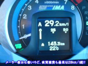 平均燃費のメーター表示、30km/lを超える事も多々(汗)